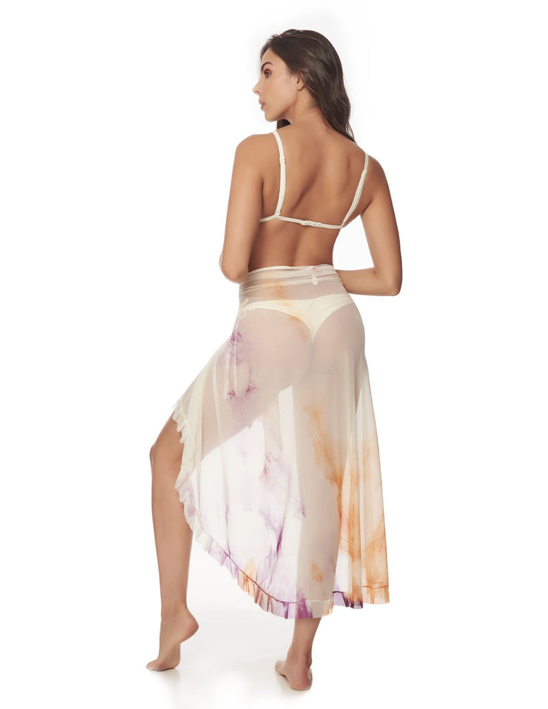 Calm Beach Wrap Morning Sky. Hand-Dyed Beach Wrap Cover-Up In Morning Sky. Entreaguas