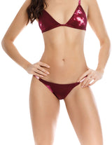 Soil 1 Bottom. Hand-Dyed Low Rise Bikini Bottom In Spotted Wild Wine. Entreaguas