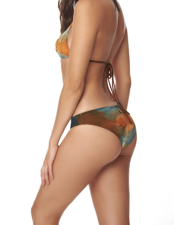 Planet Bottom Dusk Fall Sky. Hand-Dyed Iconic Bikini Bottom In Dusk Fall Sky. Entreaguas