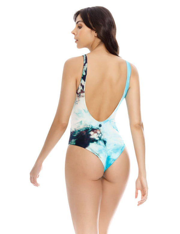 Cosmos 1 One Piece Deepblue+Turquoise. Hand-Dyed V Neck One Piece Swimsuit In Deepblue+Turquoise. Entreaguas