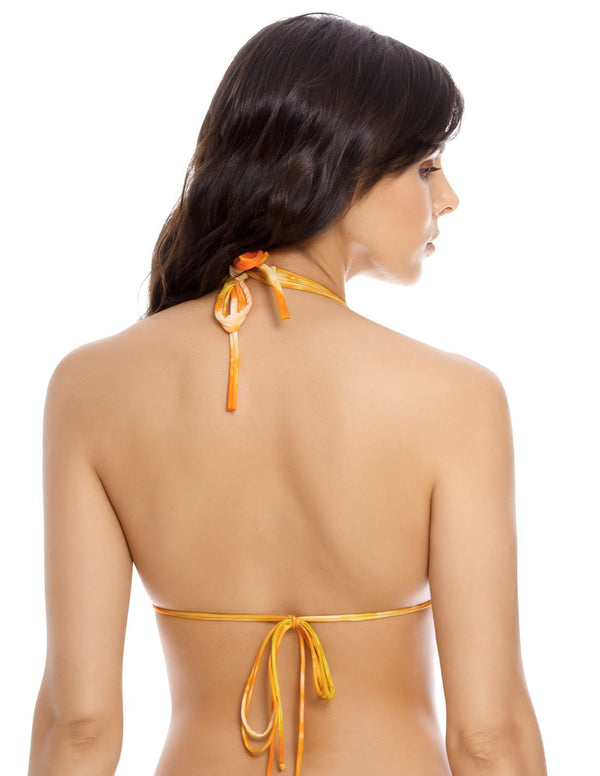Water Top 2 Top. Hand-Dyed Triangular Bikini Top In Spotted Tangerine. Entreaguas