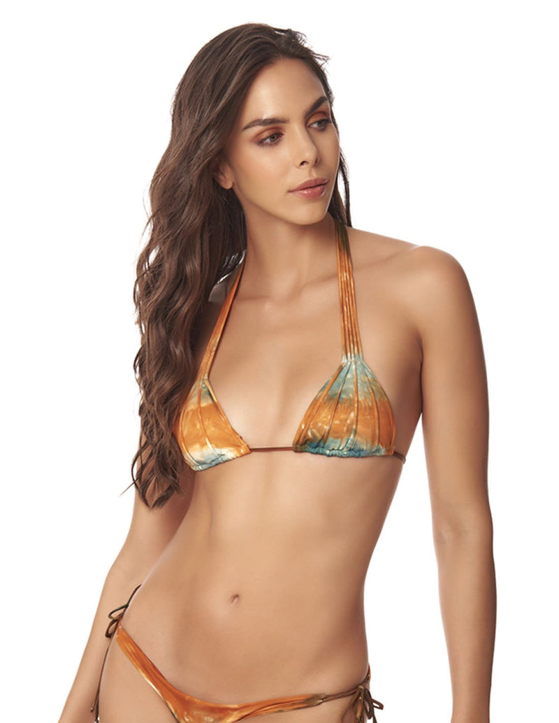 Water Top Dusk Fall Sky. Hand-Dyed Triangular Bikini Top In Dusk Fall Sky. Entreaguas