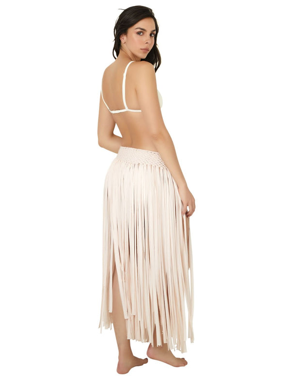 Margarita Skirt Ivory. Beach Skirt With Hand Woven Macramé In Ivory. Entreaguas