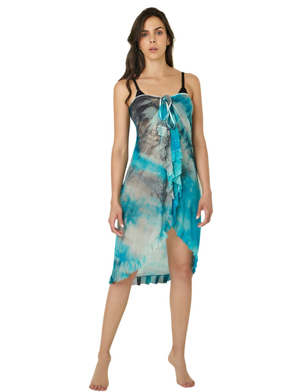 Selene Beach Wrap. Hand-Dyed Beach Wrap Cover-Up In Selene. Entreaguas
