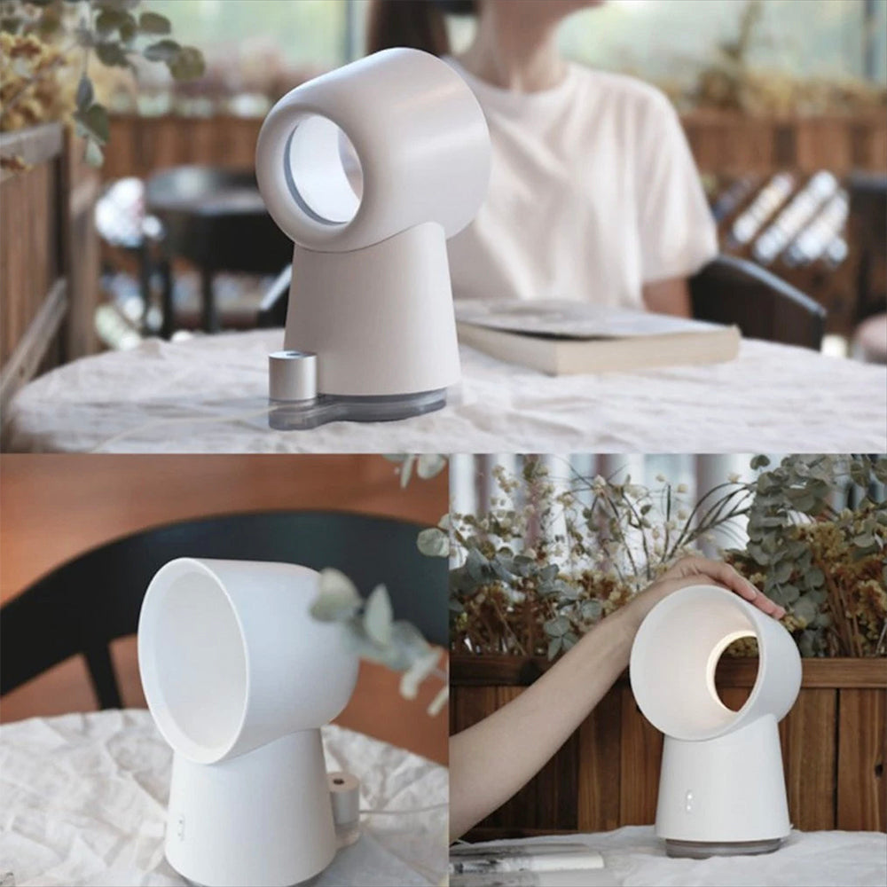 3 in 1 Mini Cooling Fan Bladeless Desktop Fan Mist Humidifier With LED Light