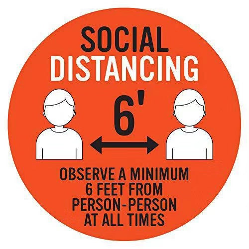"Floor Decal ""Social Distancing""  12""X12"" PCS - 314display"