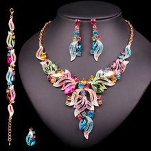 Load image into Gallery viewer, Exquisite Filigree Leaf Rainbow Statement Set