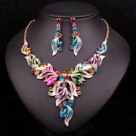 Exquisite Filigree Leaf Rainbow Statement Set