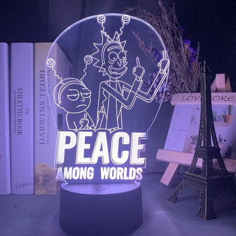 Lampe 3D Rick et Morty Peace