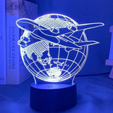 Lampe Illusion 3D Avion Voyage