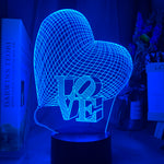 Lampe hologramme led 3D LoVe