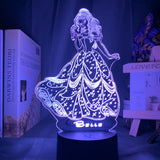 Lampe led 3D Princesse Belle