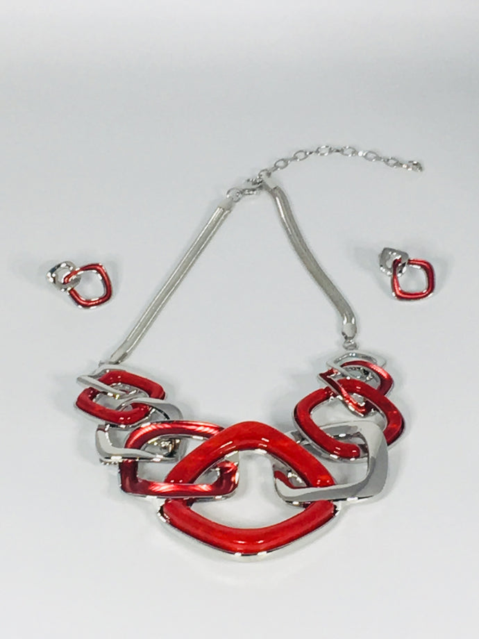 Silver Plated Metal Linked Necklace Set