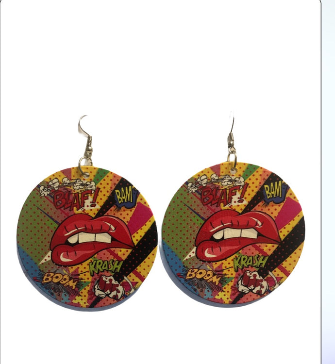 Blaf Bam Krash Wooden Drop Earrings