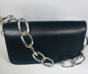 Black Handbag with Chain Link