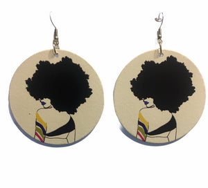 Afrocentric Wooden Drop Earrings
