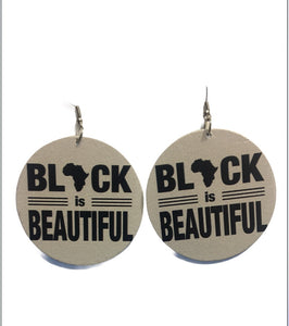 Black is Beautiful Wooden Drop Earrings