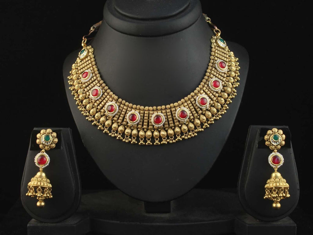 22KT Jadtar Necklace Set For Women