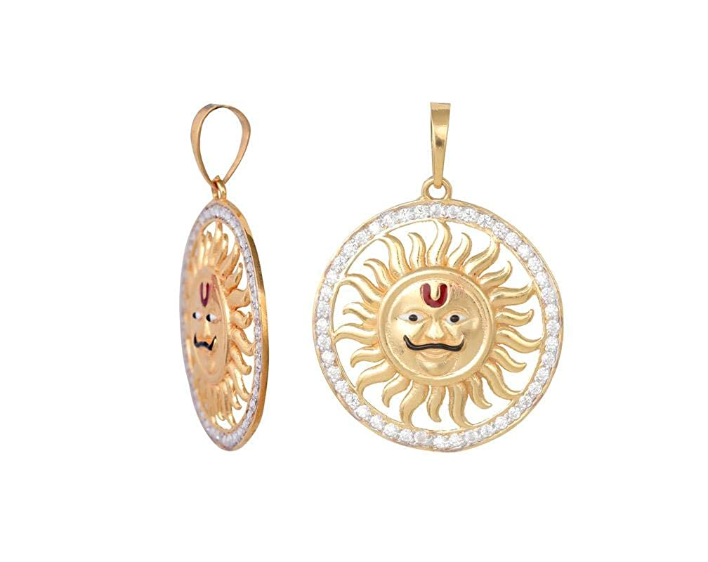 Kanishq 18kt Yellow Gold Metal God Sun/Suraj Pendant