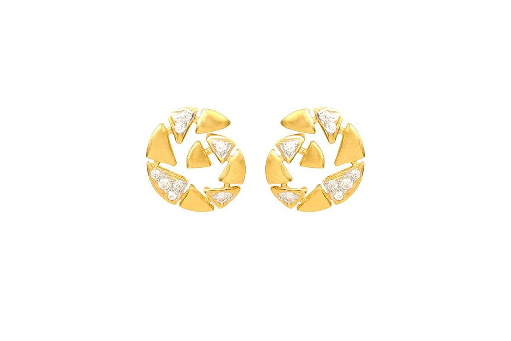 18KT (750) Yellow Gold Studded Earrings for Women,girls For Daily Wear,Gift Purpose,Marriage,Festive,Occasion Etc