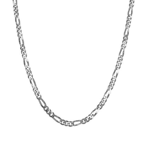 Kanishq Anti-Tarnish 92.5 Sterling Silver Figaro Chain Necklace in 20 24 28 inches for Men & Boys