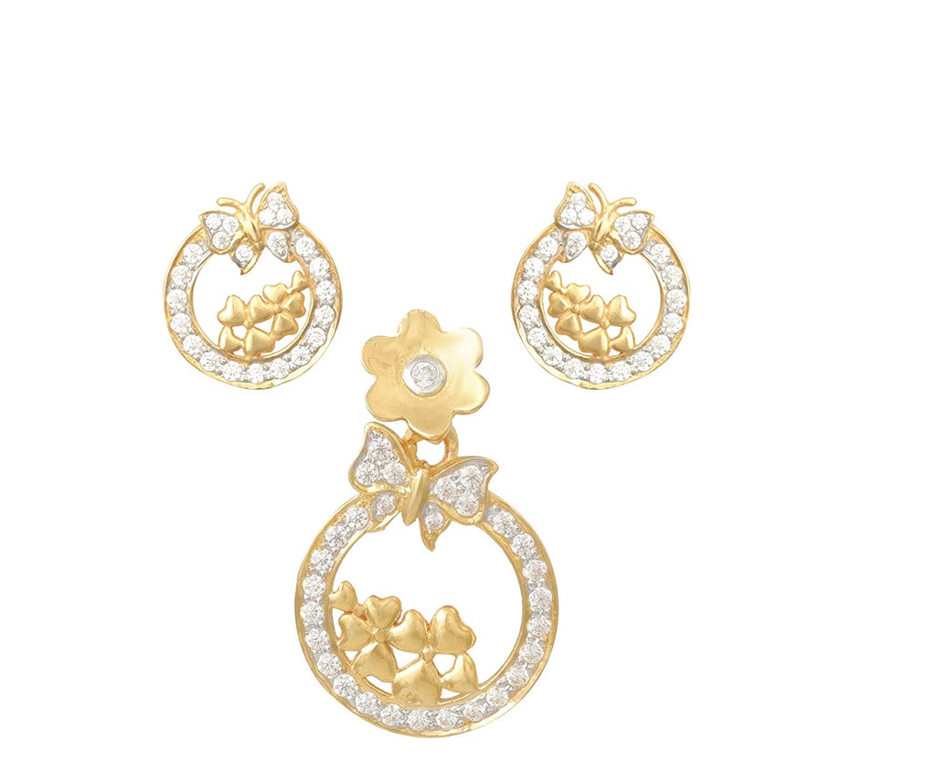 Butterfly Pattern's Tops & Earrings in Yellow Gold 18kt for Women,Girls.