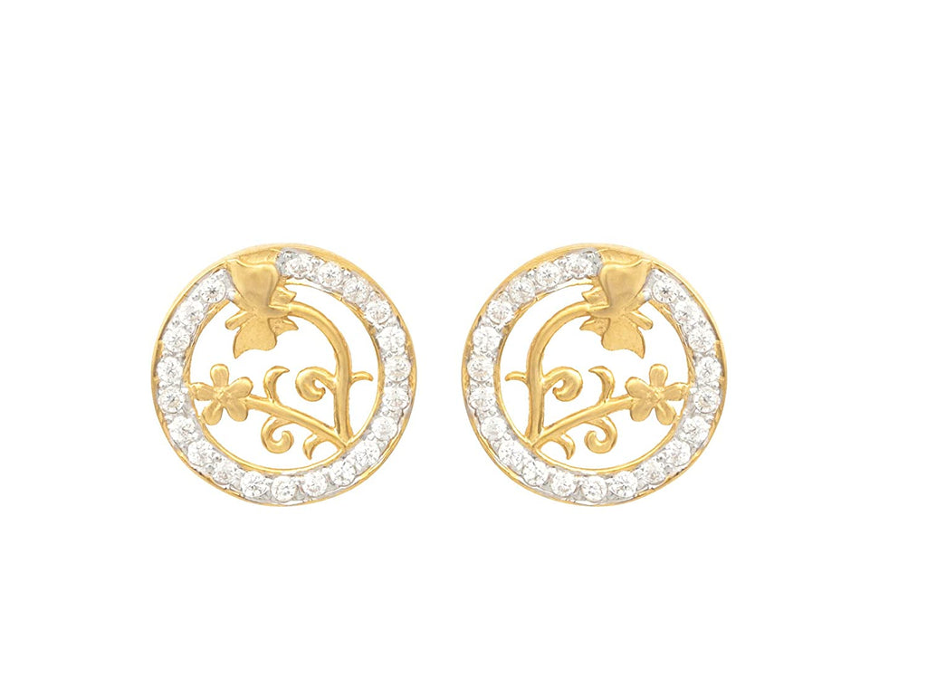 18KT (750) Yellow Gold Studded Earrings