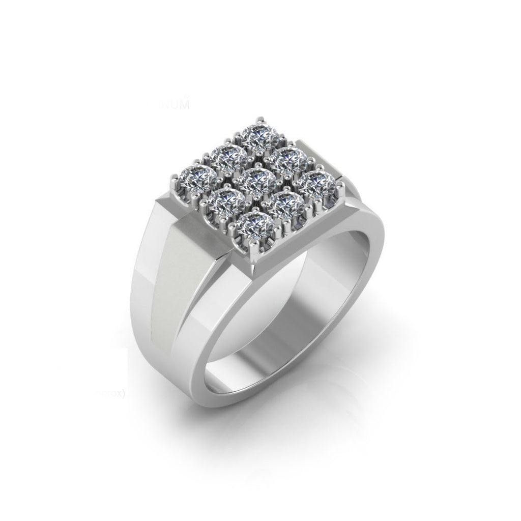 Pure Platinum Studded Ring For Men's & Boy's