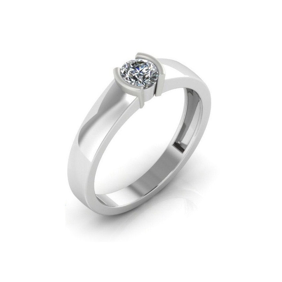 Pure Platinum Studded Ring For Women & Girls