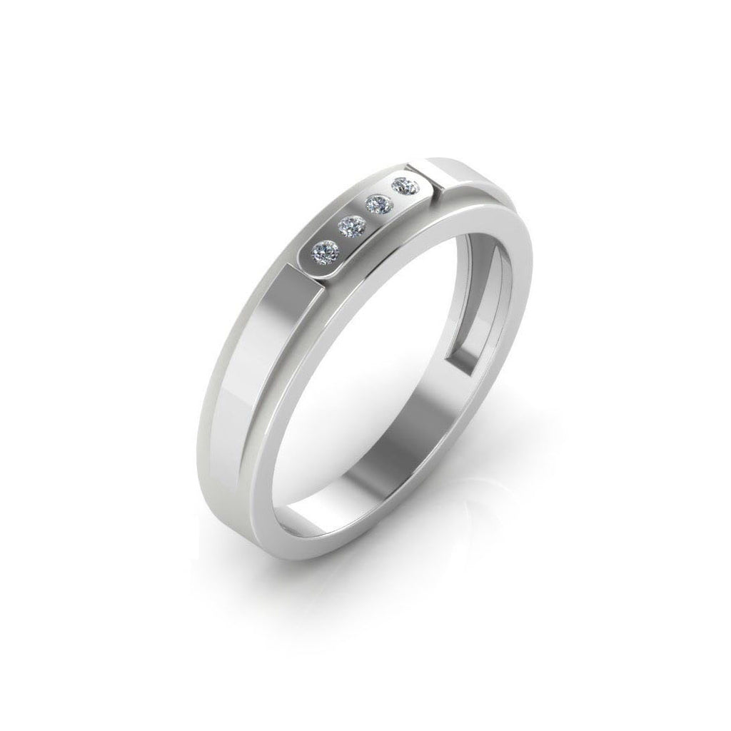 Pure Platinum Studded Couple Band Ring For Women's & Girl's