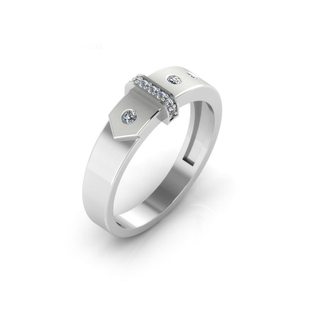 Pure Platinum Studded Couple Band Ring For Men's & Boy's
