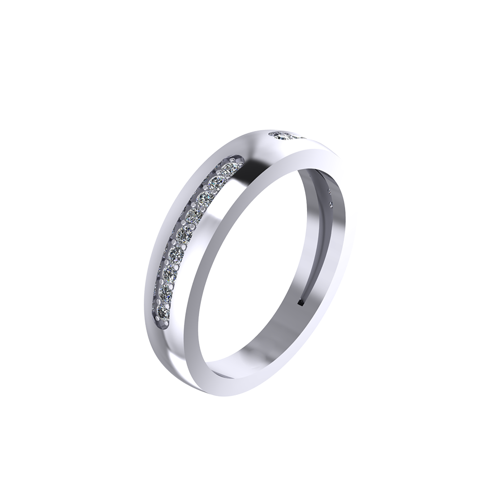 Pure Platinum Studded Band Ring For Women's & Girl's