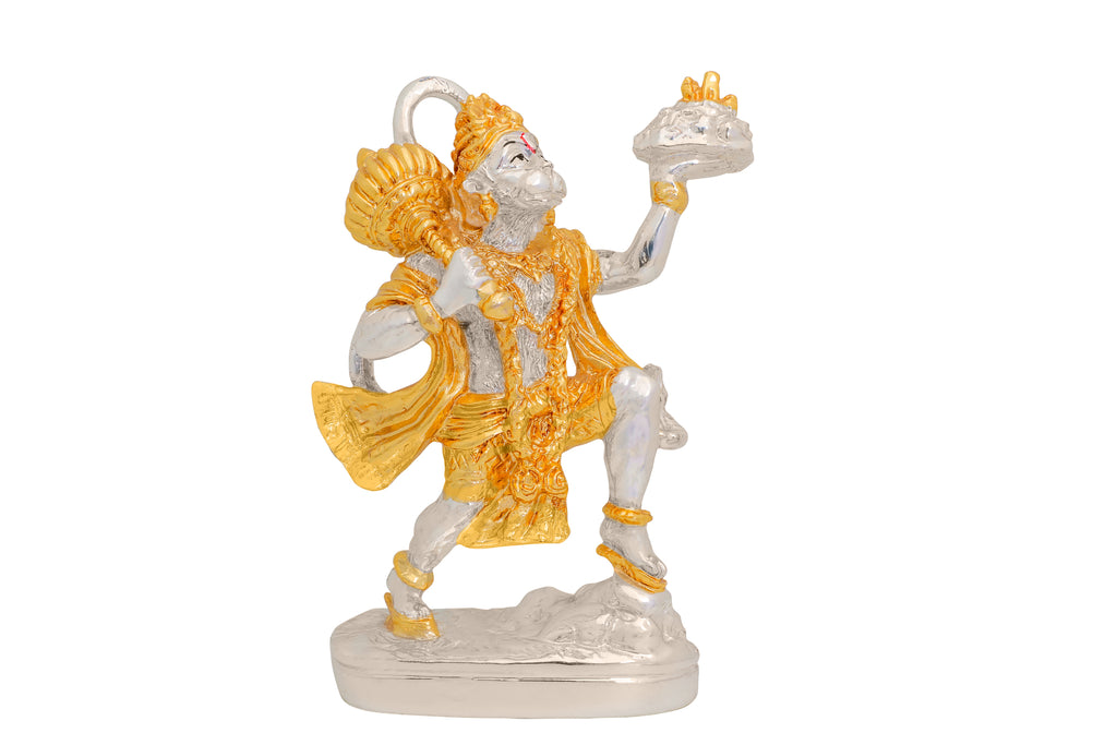 Lord Hanuman ji With Kailash Parvat 999 Gold & Silver Plated Murti