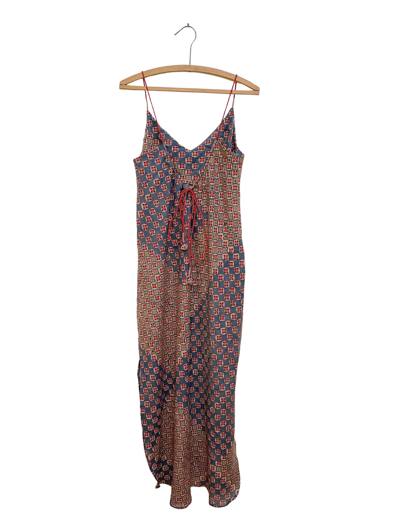 Sadie Camisole Dress in Engineered Block Print