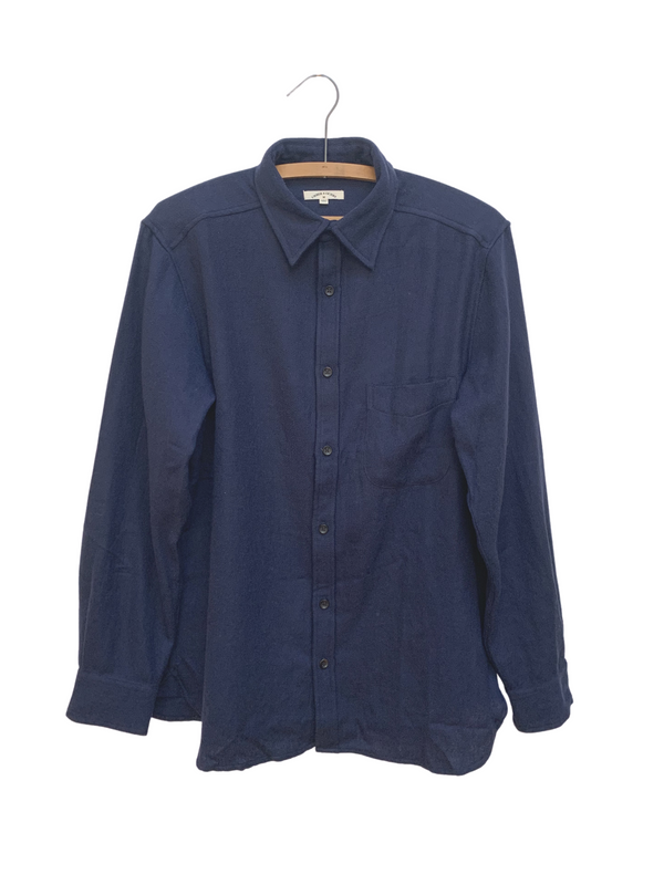 Kabir Shirt in Navy Wool