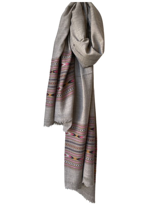 Wool Shawl with Wide Border Taupe
