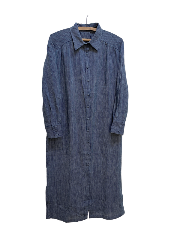 Long Shirtdress in Indigo Stripe