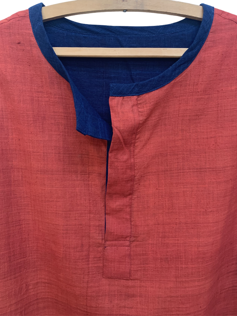 Henry Reversible Henley in Indigo/Pomegranate