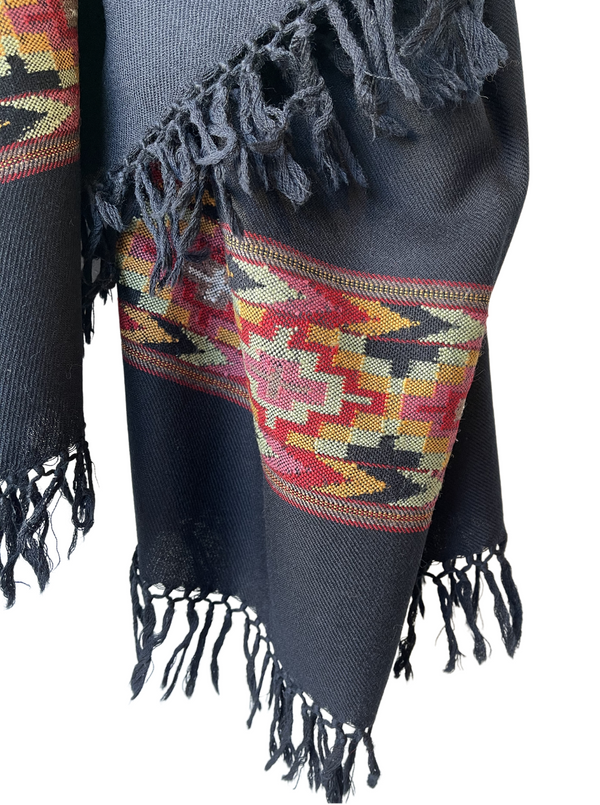 Wool Shawl with Border Black