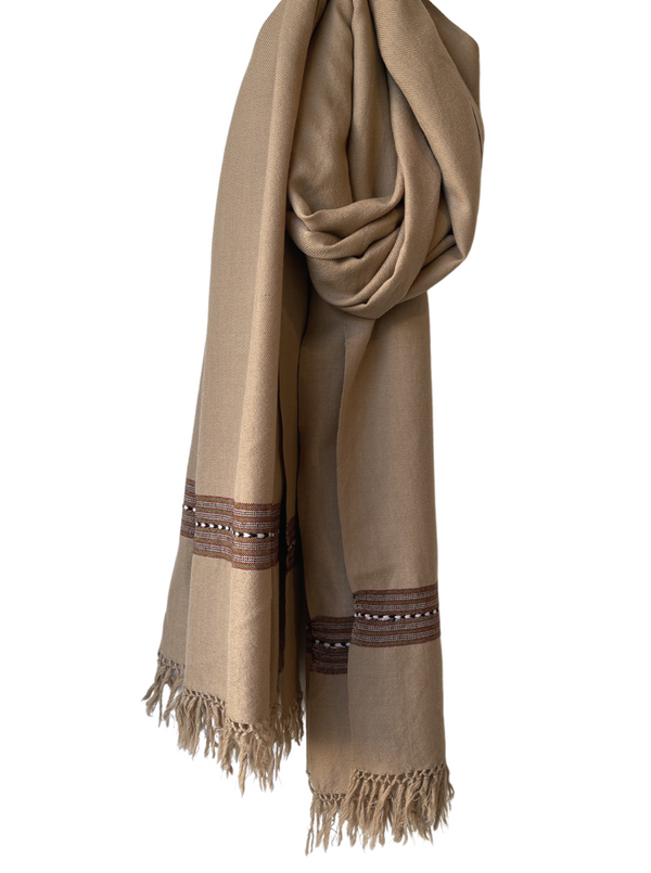 Wool Shawl with Border Tan