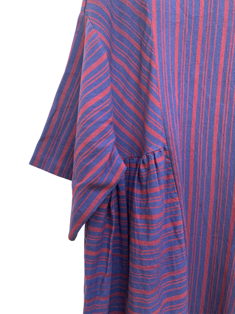 May Boxy Dress in Cabernet/Maritime Stripe