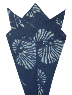 Cotton Bandana in Indigo Block Print