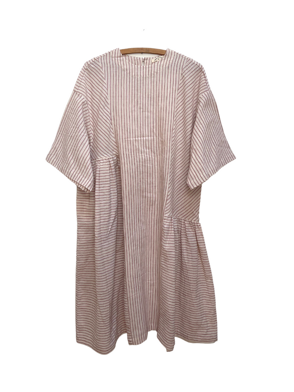 May Boxy Dress in Red Stripe Kora