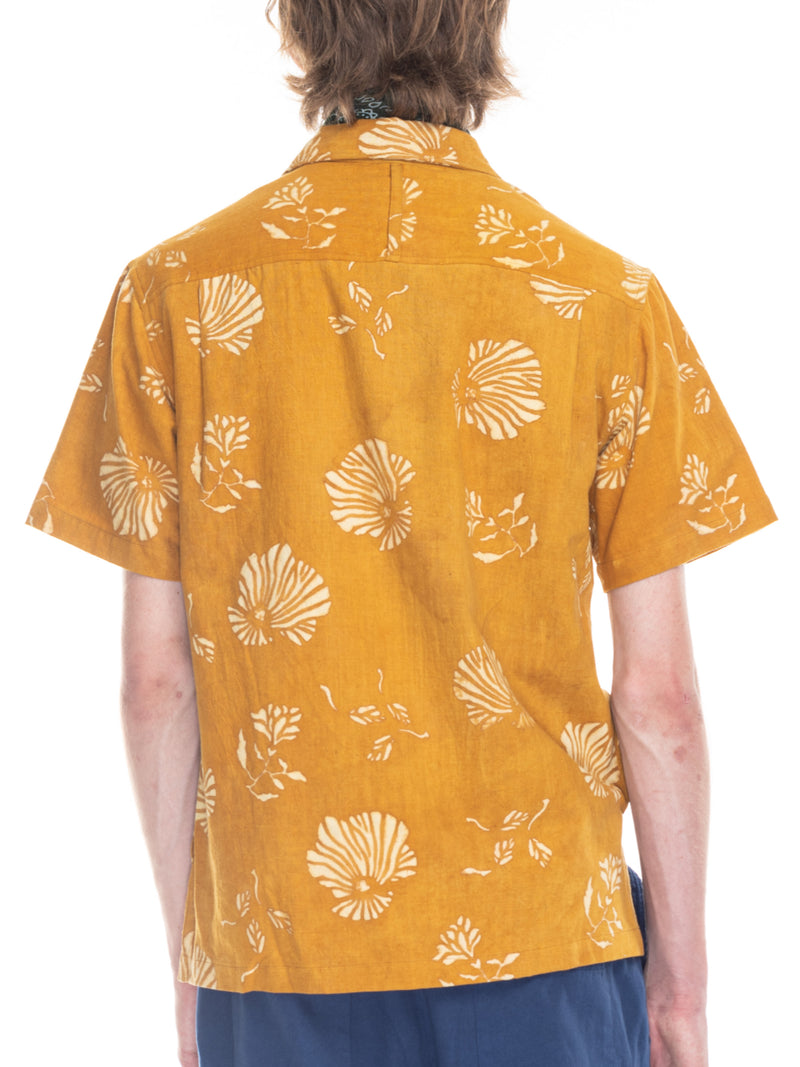 Archie Camp Shirt in Turmeric Block Print