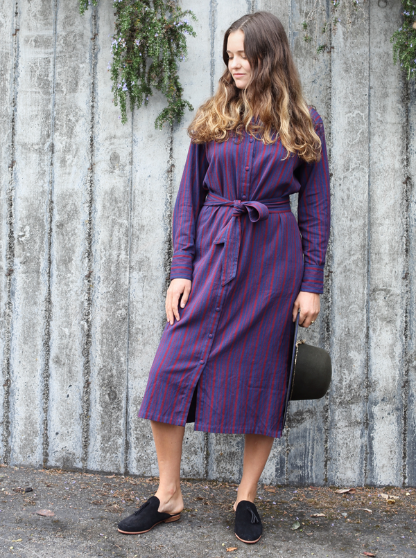 Long Shirtdress in Cabernet/Maritime Stripe