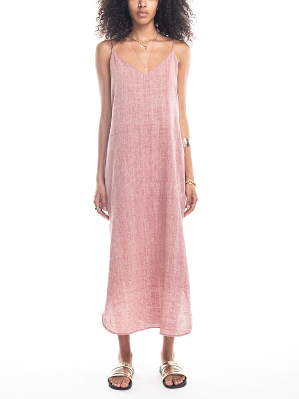 Sadie Camisole Dress in Pink Chambray