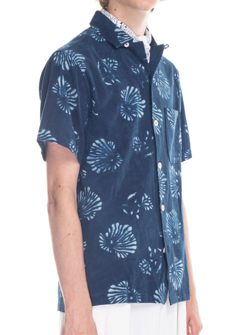 Archie Camp Shirt in Indigo Block Print