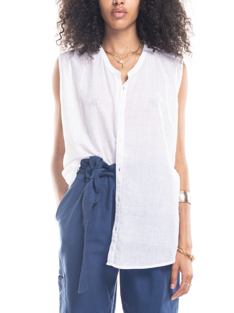 Aileen Sleeveless Shirt in White