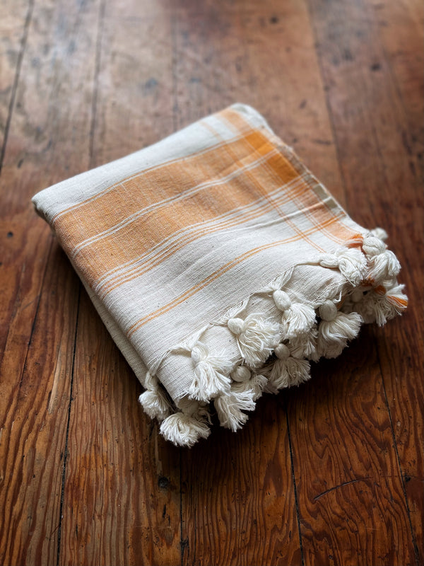 Towel in Ivory/Orange