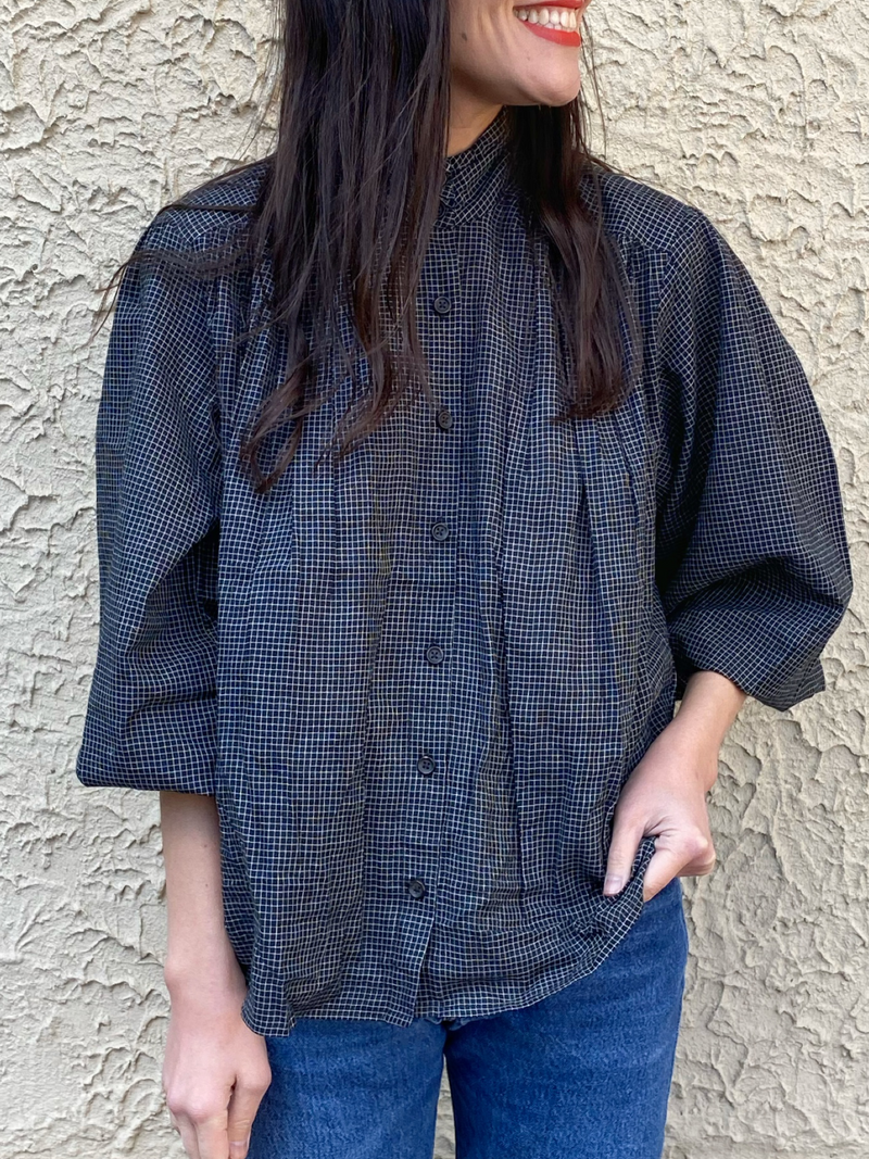 Sabrina Top in Black Check